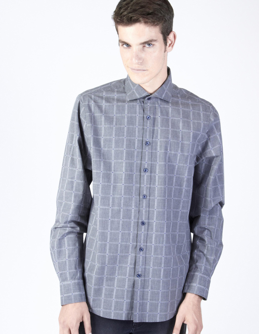 Grey with blue micro-pattern plaid shirt
