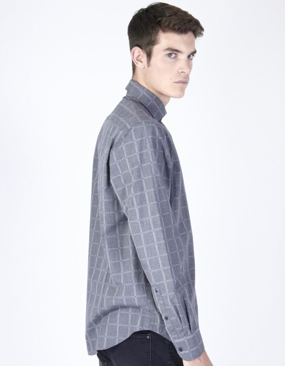 Grey with blue micro-pattern plaid shirt - Backside