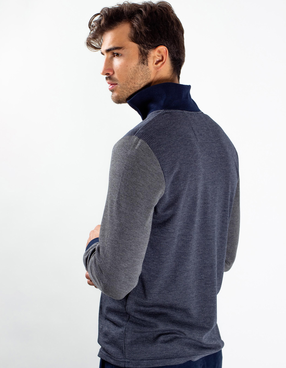Blue neck sweater with zip - Backside