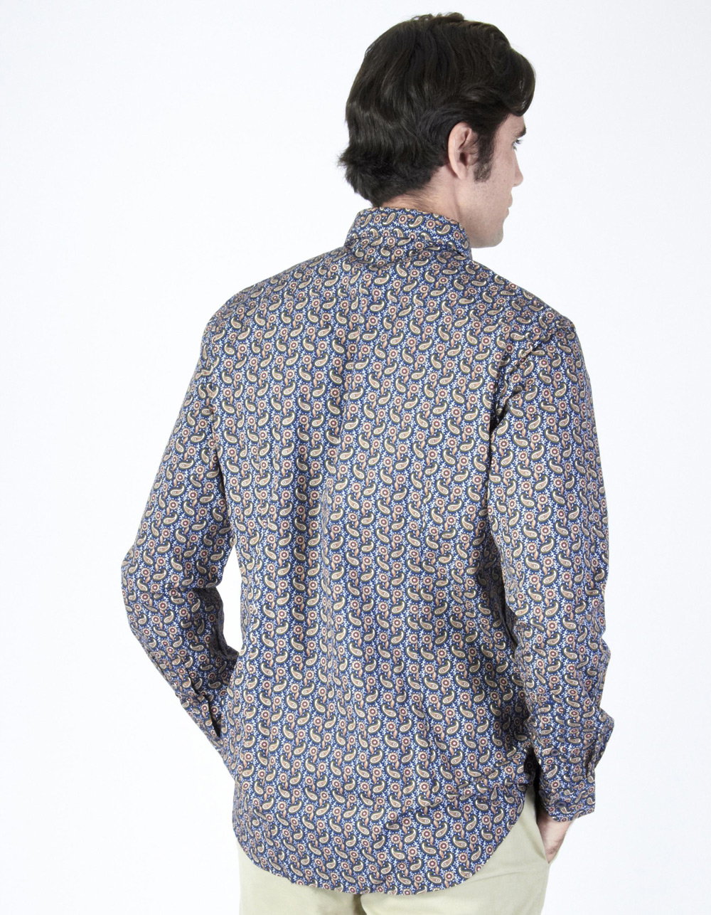 Blue shirt with ochre fantasy design - Backside