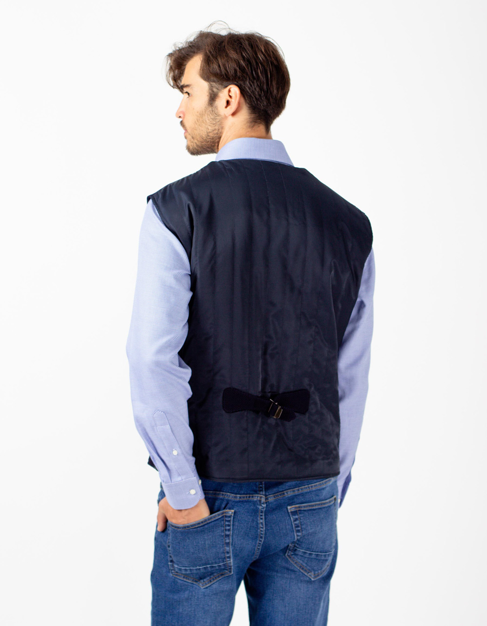 Blue semi dress padded waistcoat - Backside