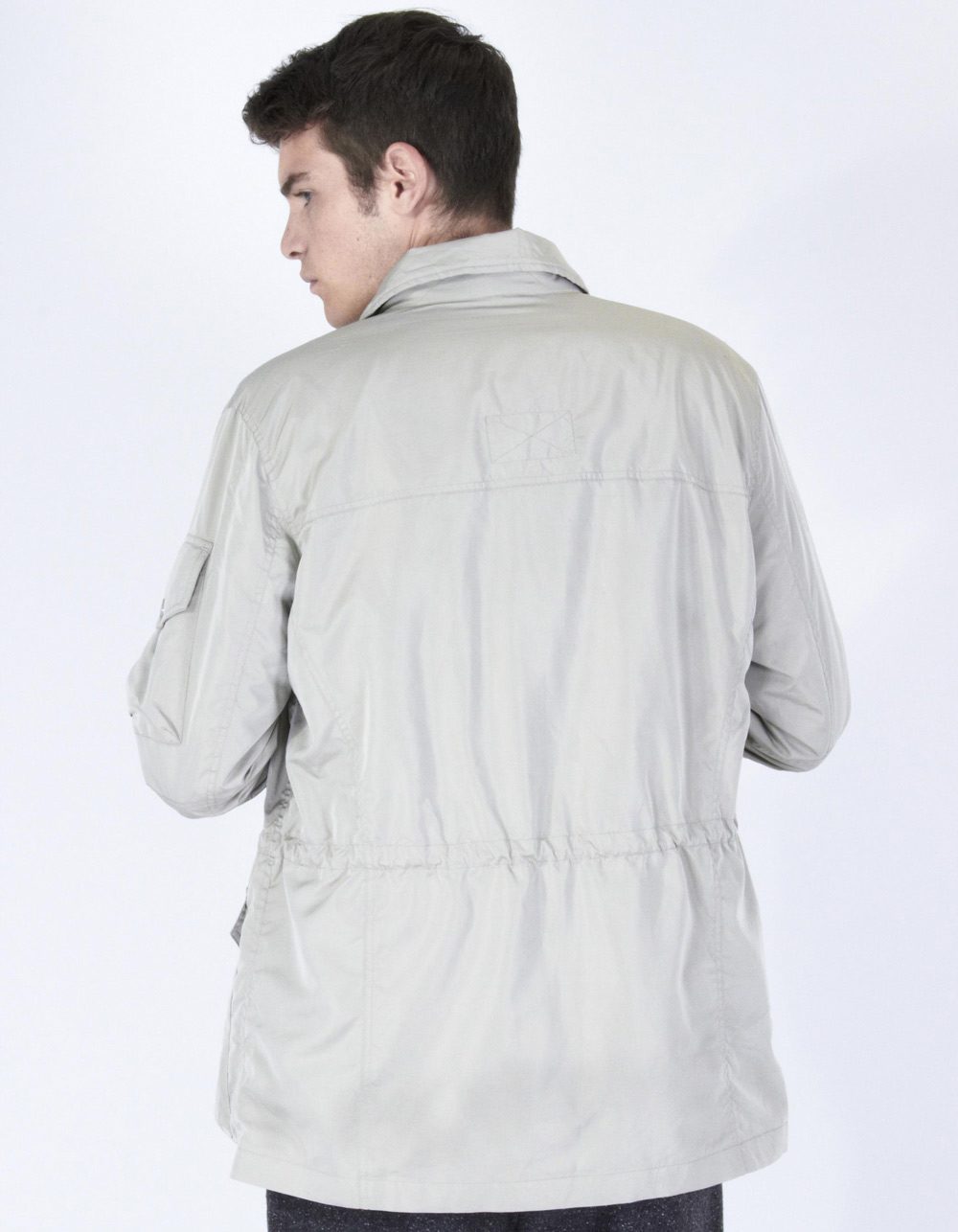 Grey parka with pockets - Backside