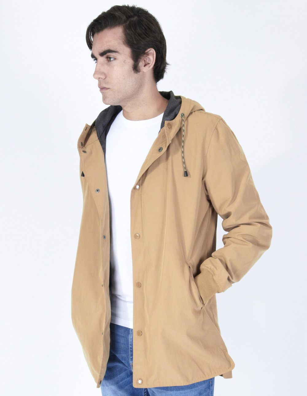 Camel parka with hood