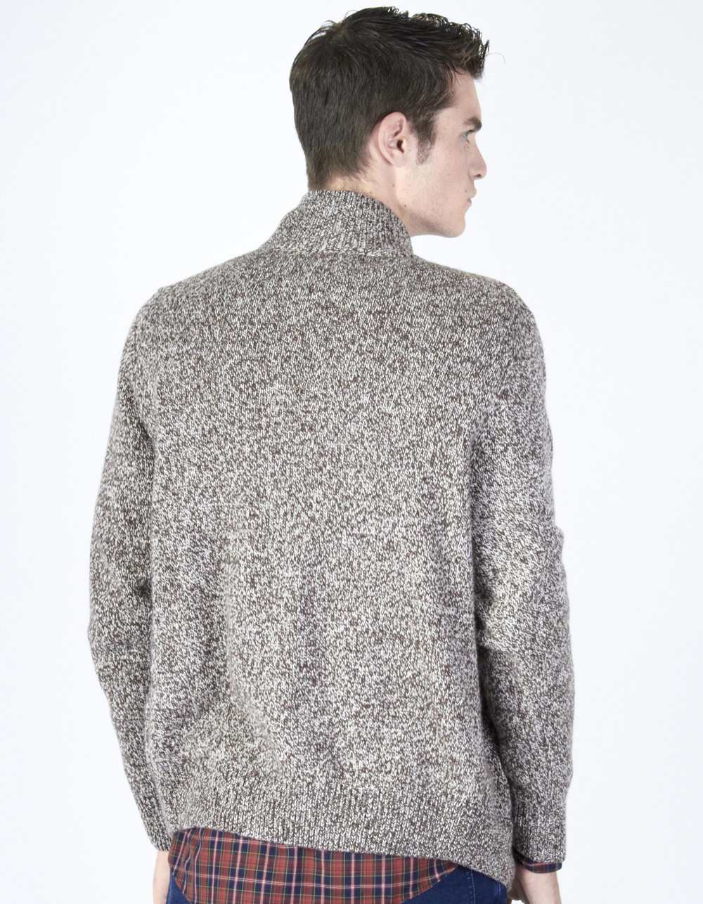 Brown shawl neck cardigan