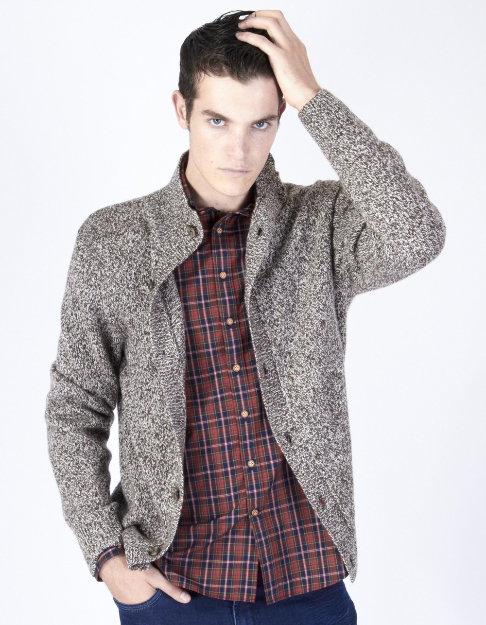 Brown shawl neck cardigan - Backside