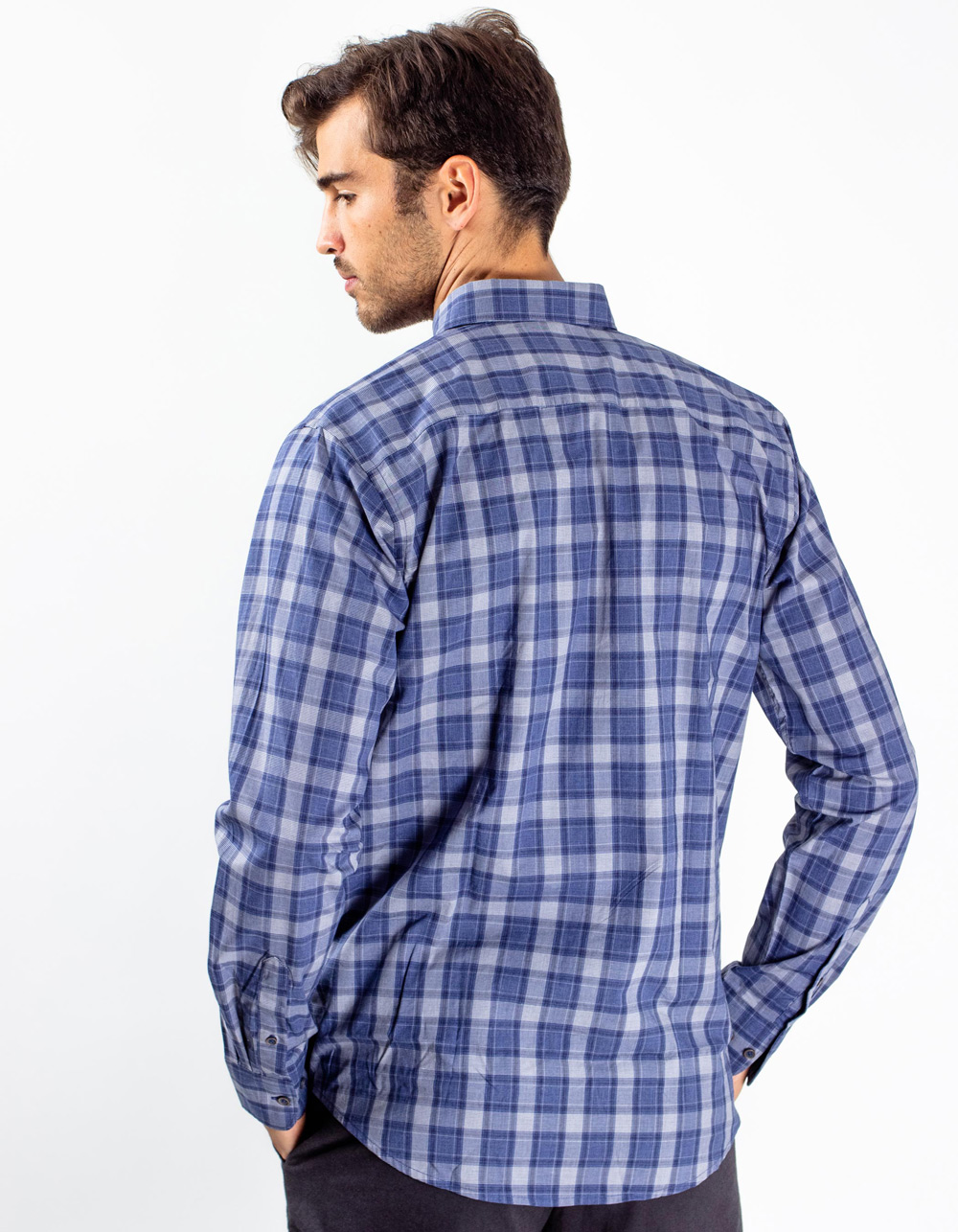 Blue plaid shirt - Backside