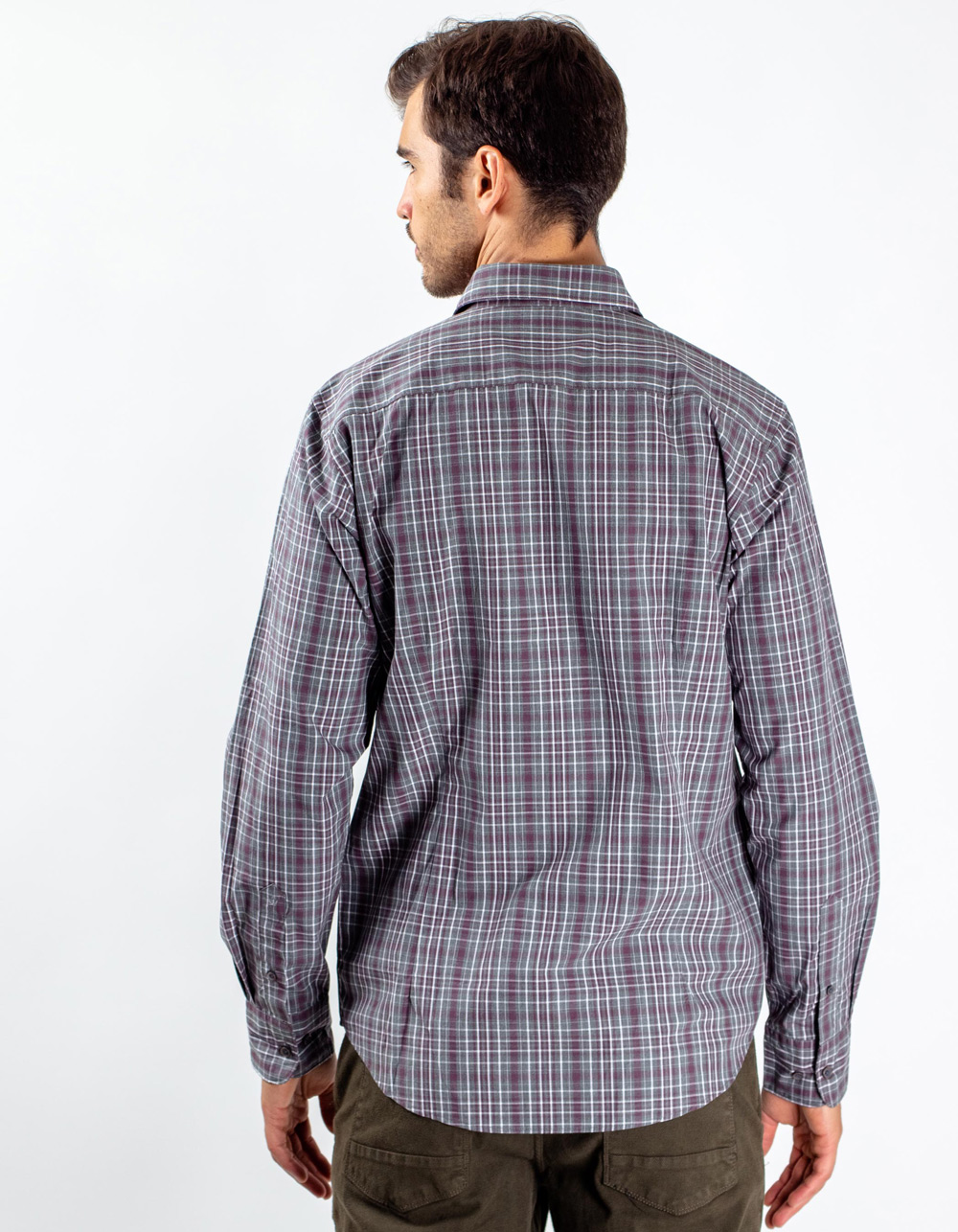 Maroon plaid shirt - Backside