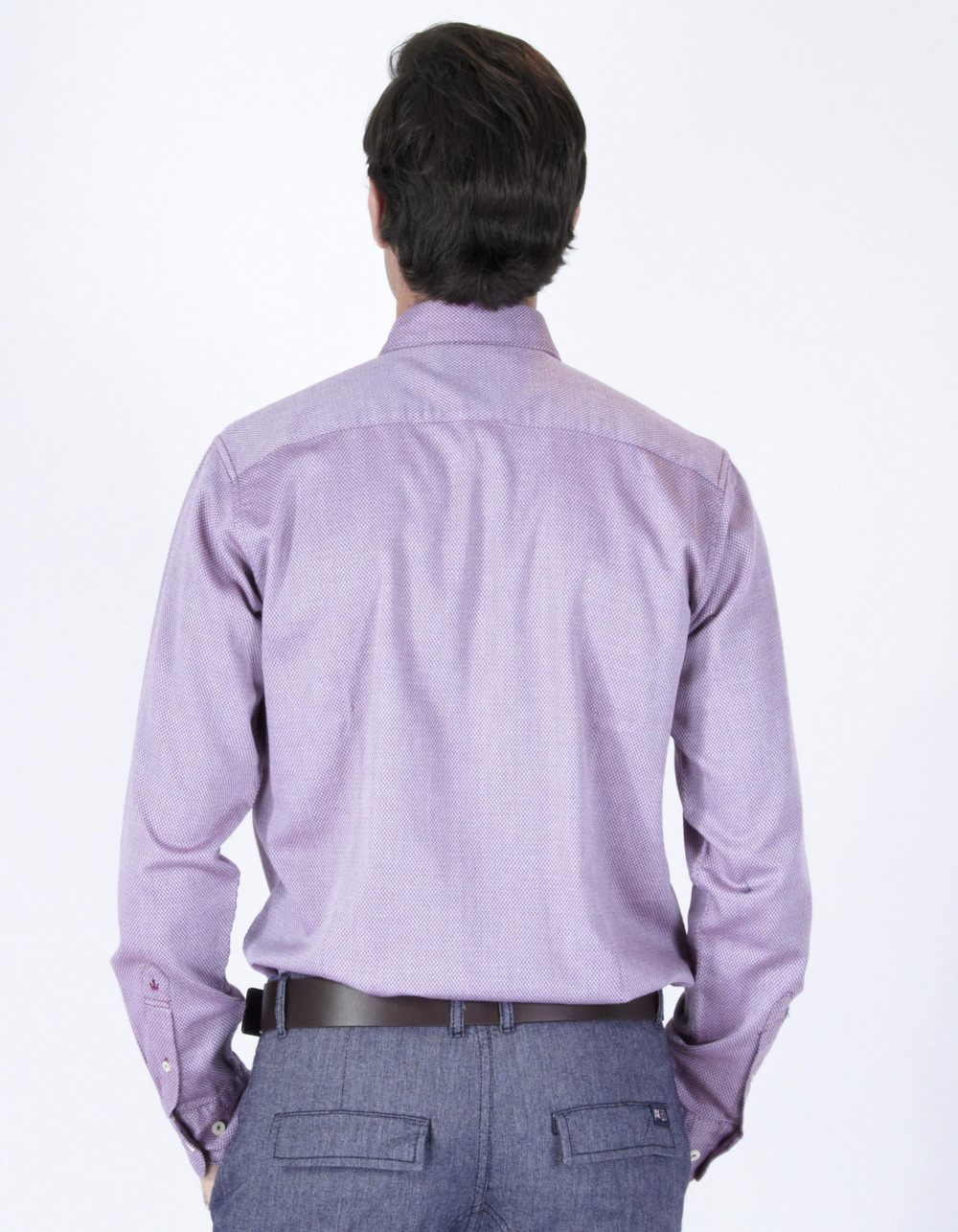 Maroon micro-pattern iridescent shirt - Backside