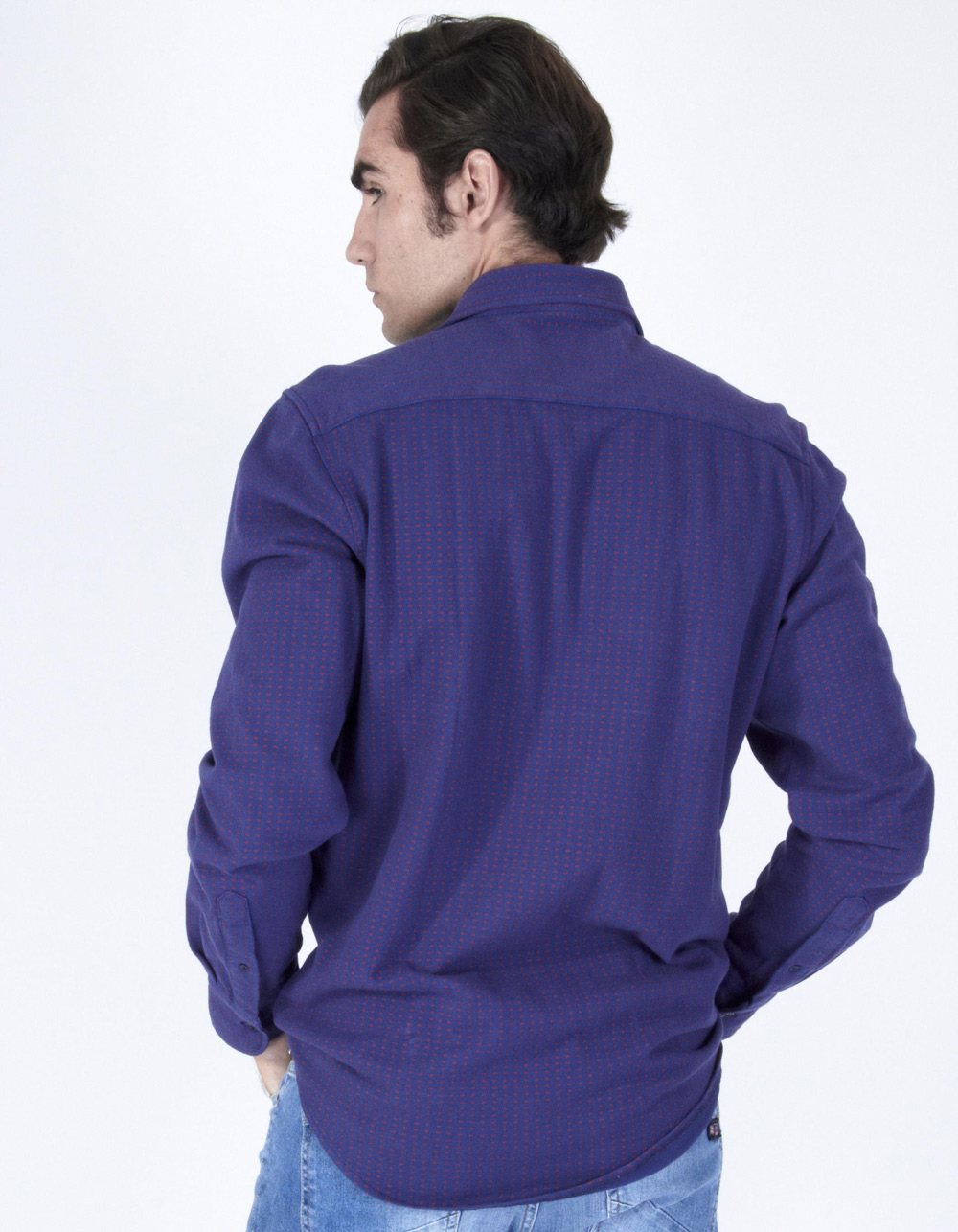 Blue fantasy pique shirt - Backside