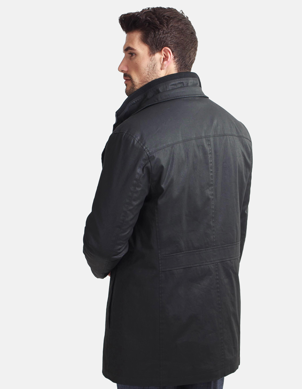 Charcoal grey quilted parka - Backside