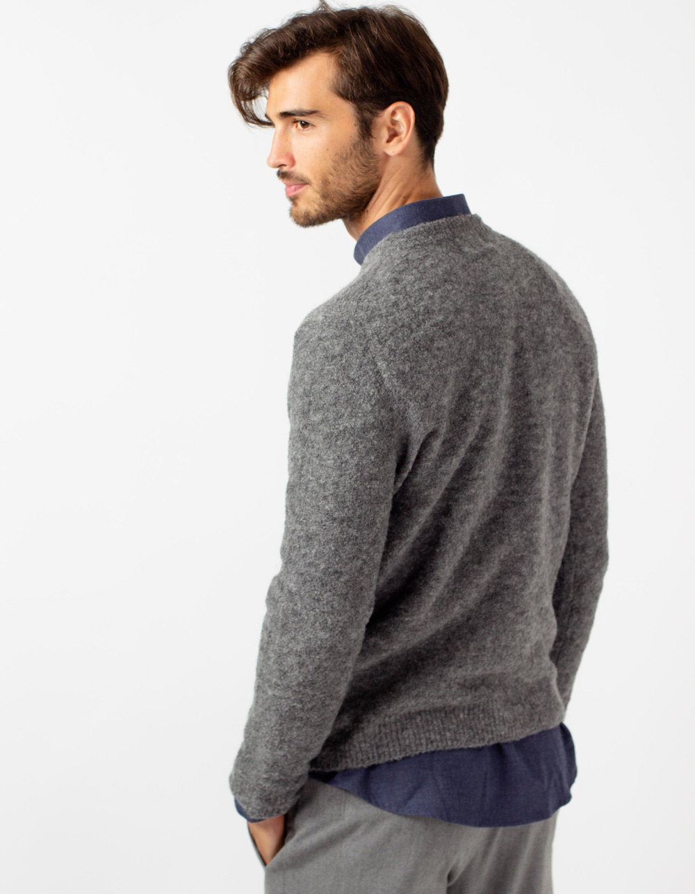 Grey round collar jersey - Backside