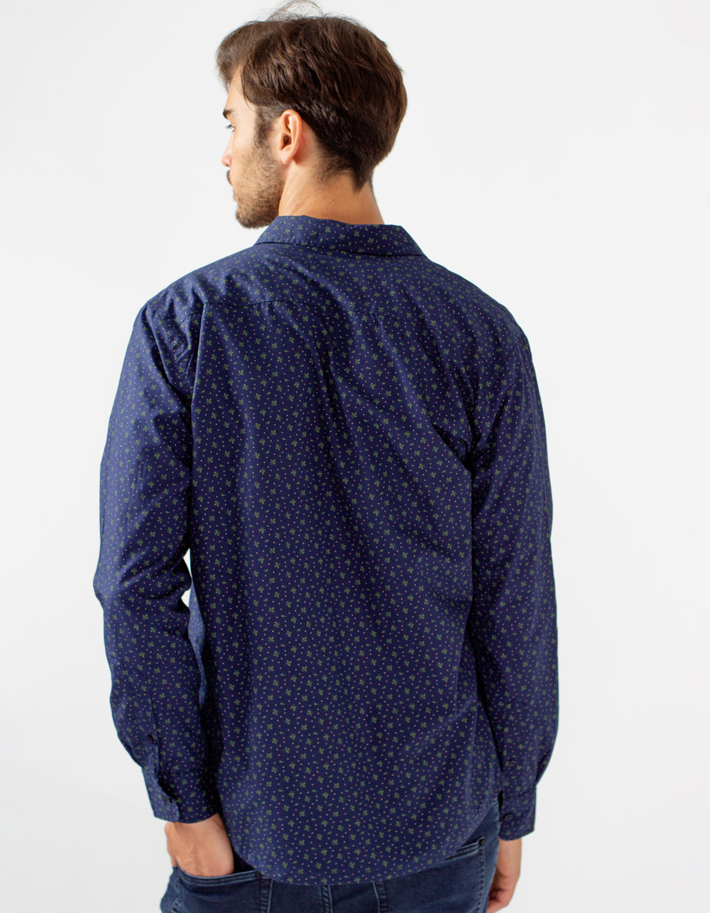 Blue overshirt with print - Backside
