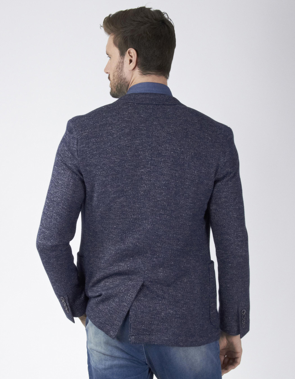 Navy blue pattern blazer - Backside
