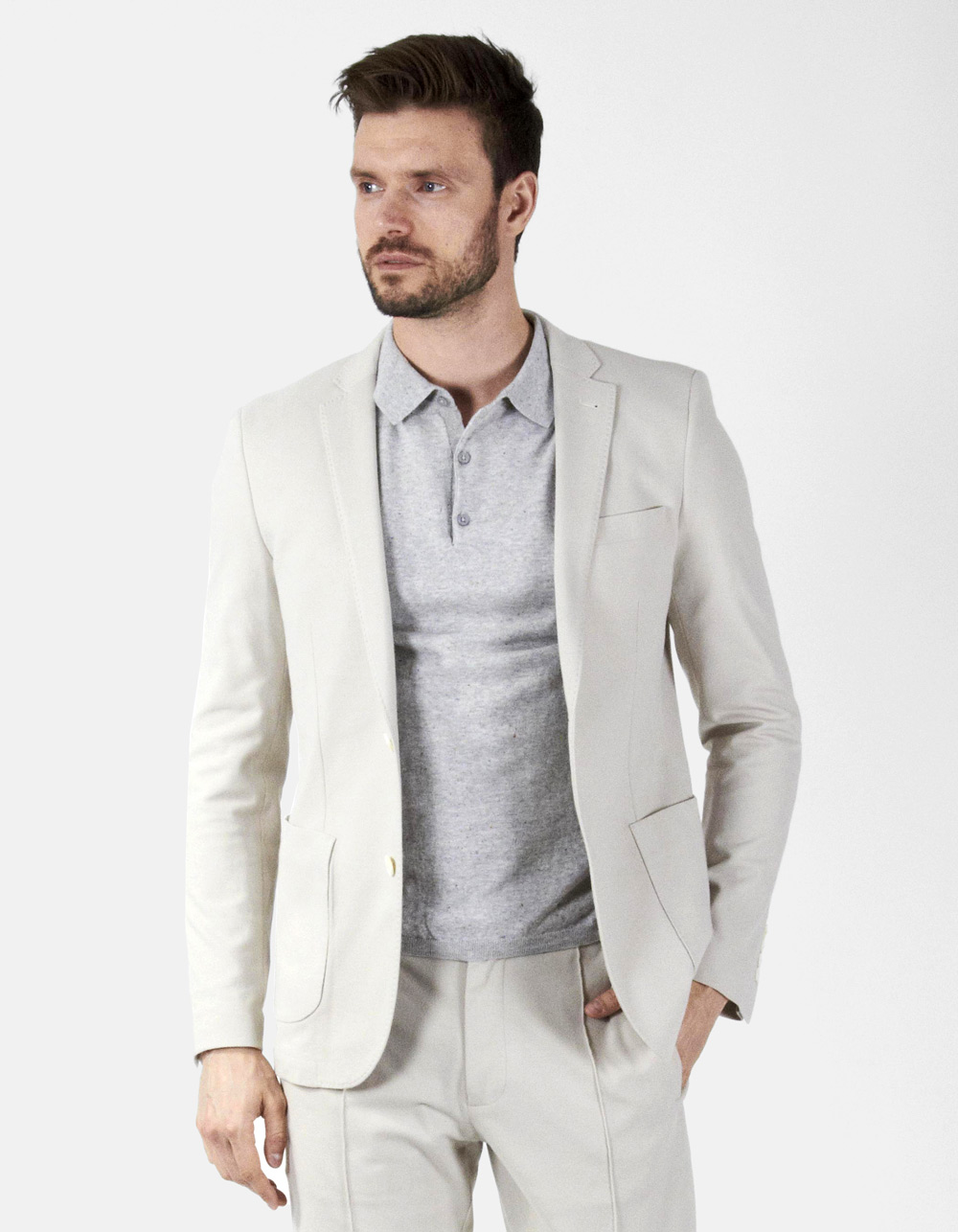 White plain blazer