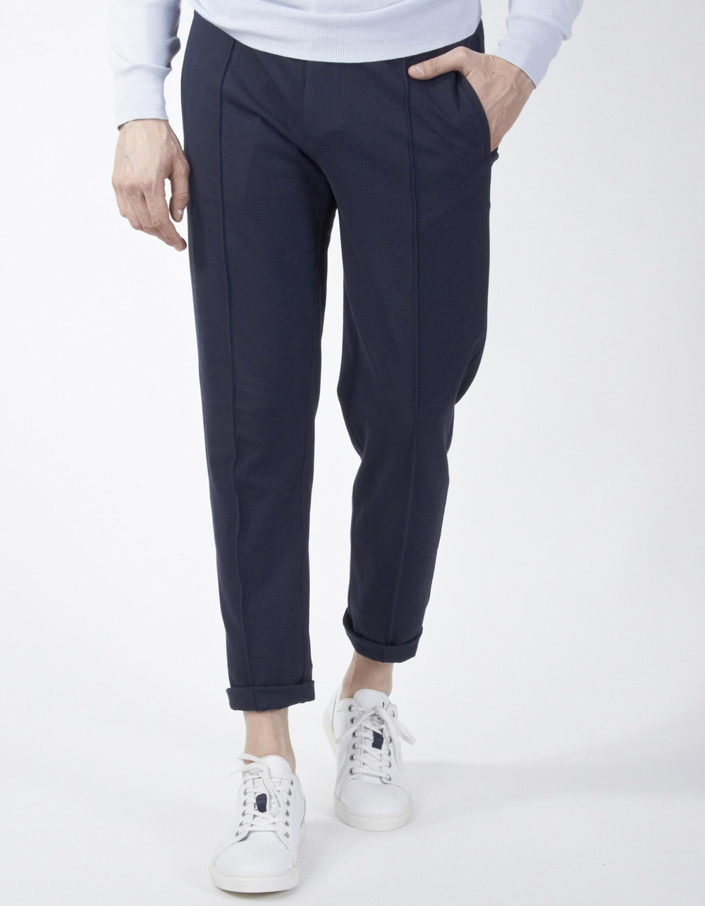 Navy blue trousers with darts and drawstring waist