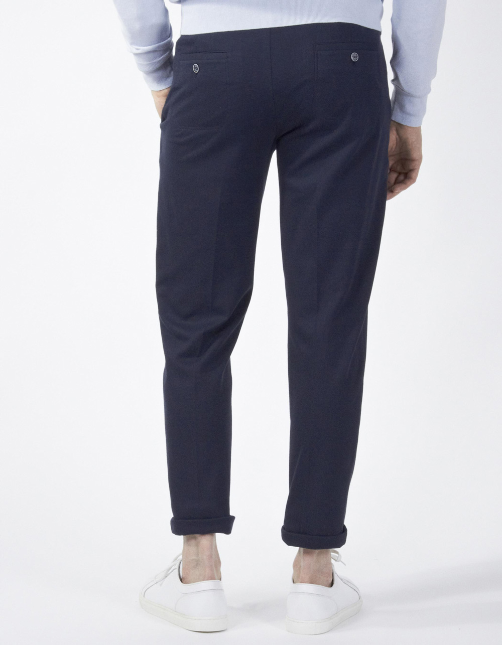 Navy blue trousers with darts and drawstring waist - Backside