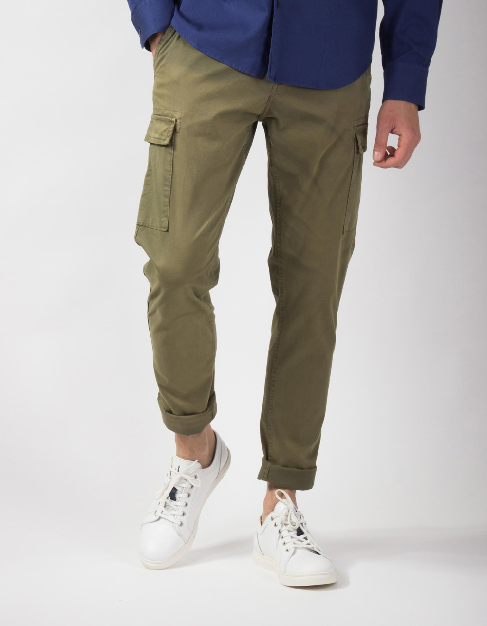 Kaki cargo trousers