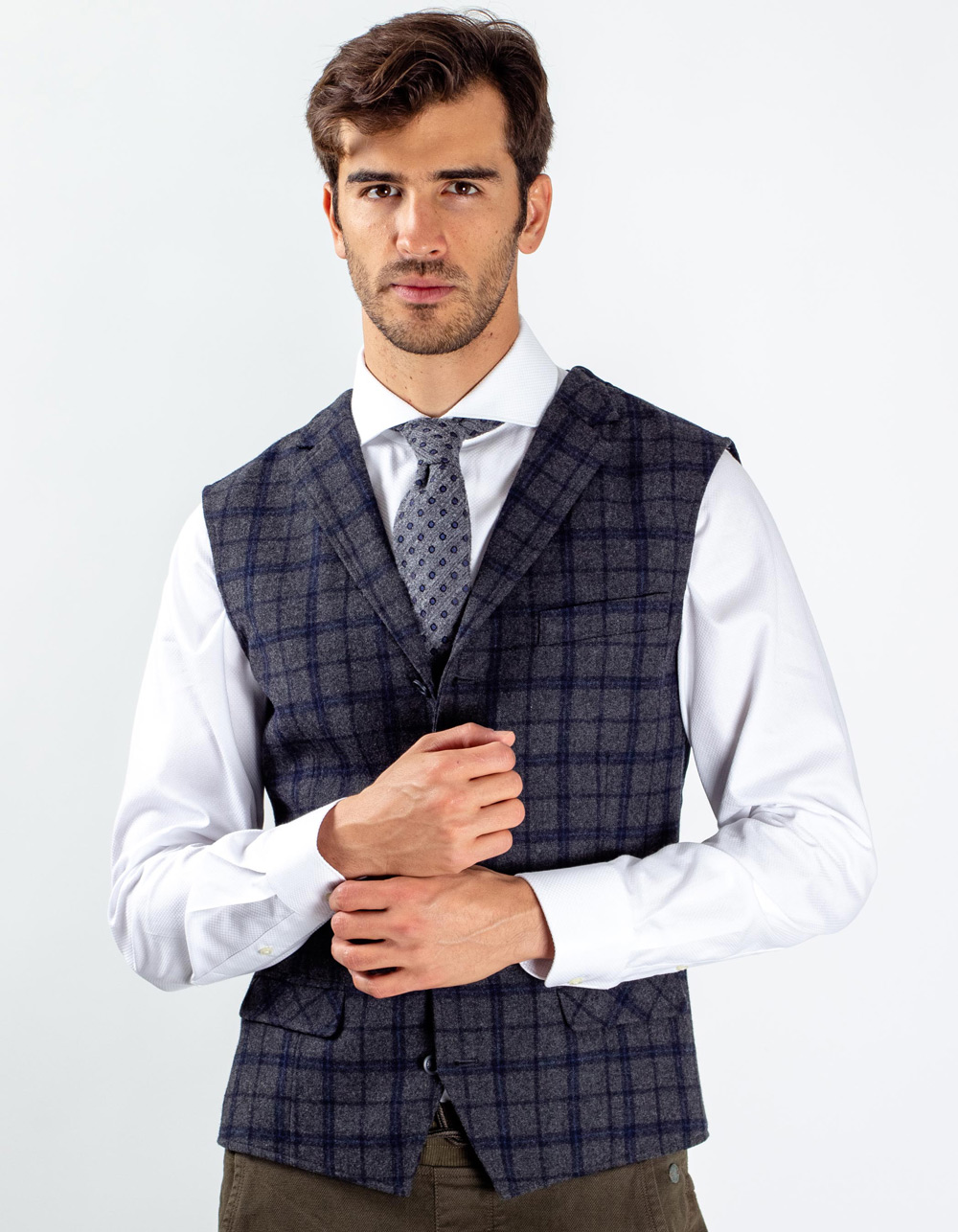 Blue and white micro-pattern vest