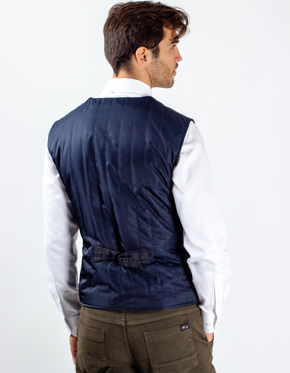 Blue and white micro-pattern vest - Backside