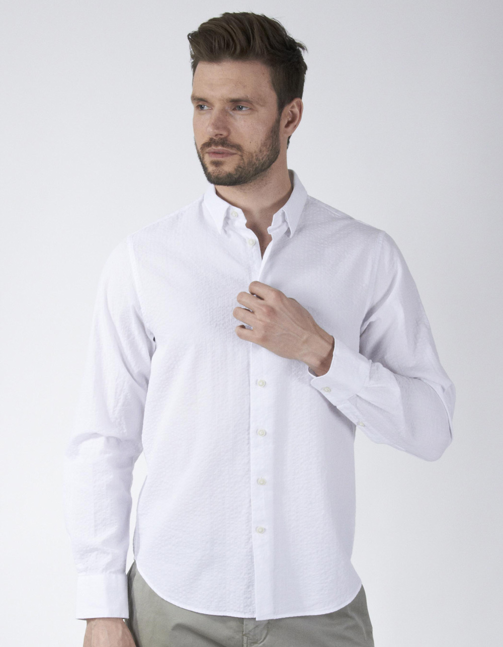 White gathered shirt