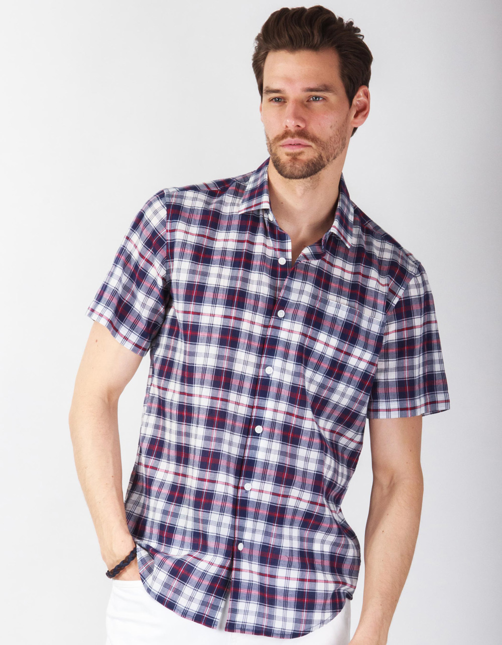 Blue checkered short sleeve