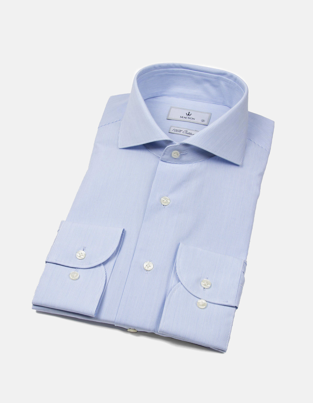 Pinstripe shirt with white collar