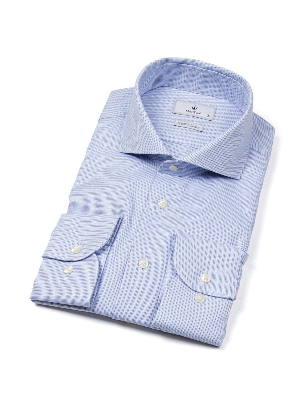 Blue Oxford shirt with white collar