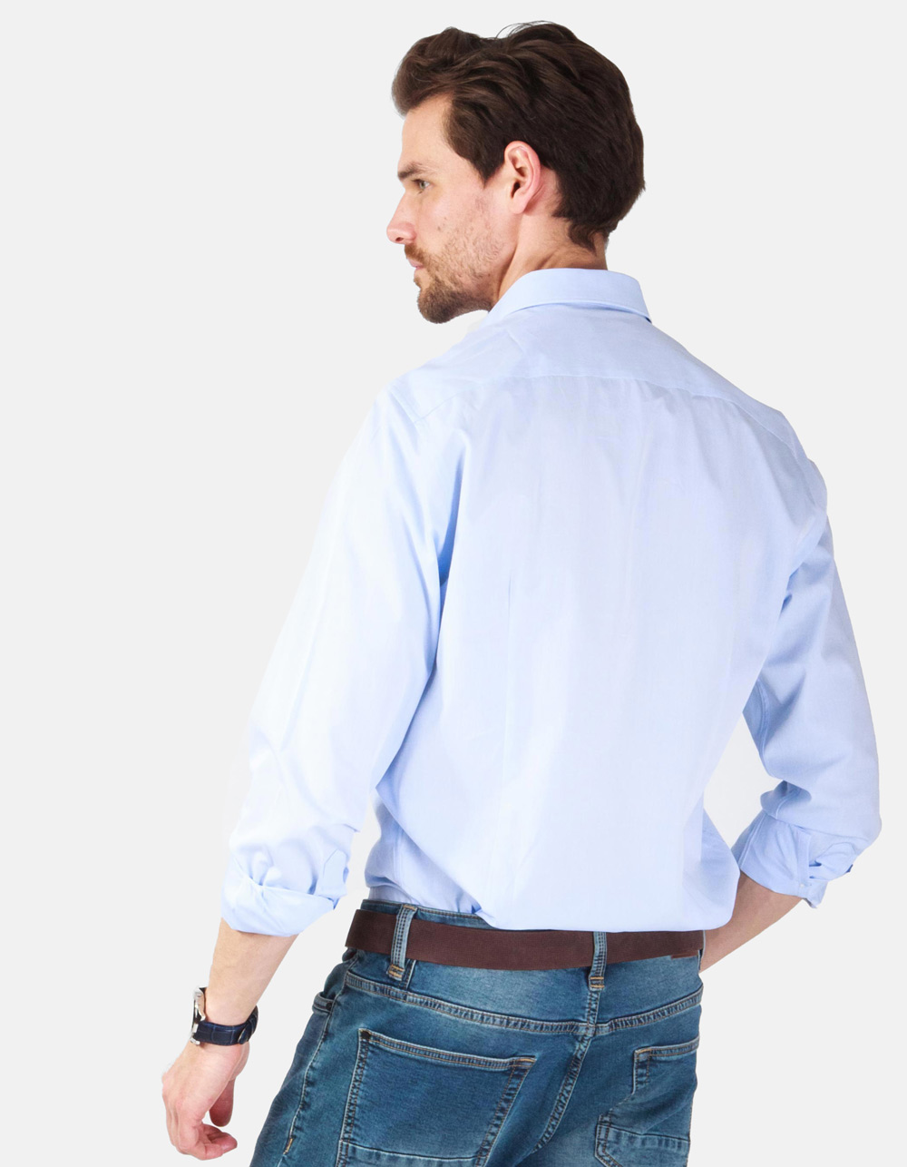 Blue plain dress shirt - Backside