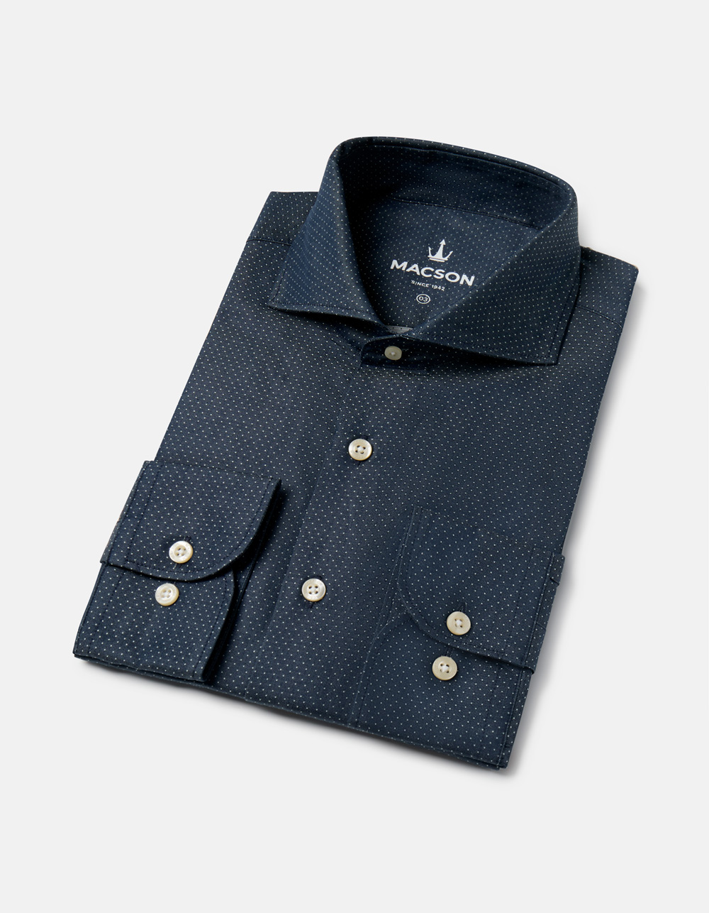 Navy blue micro-polka dots shirt