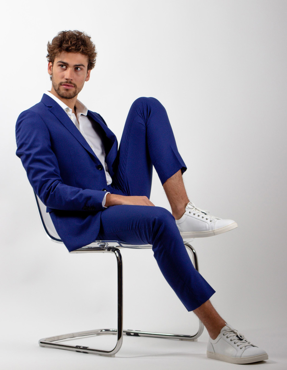 Blue fil a fil suit