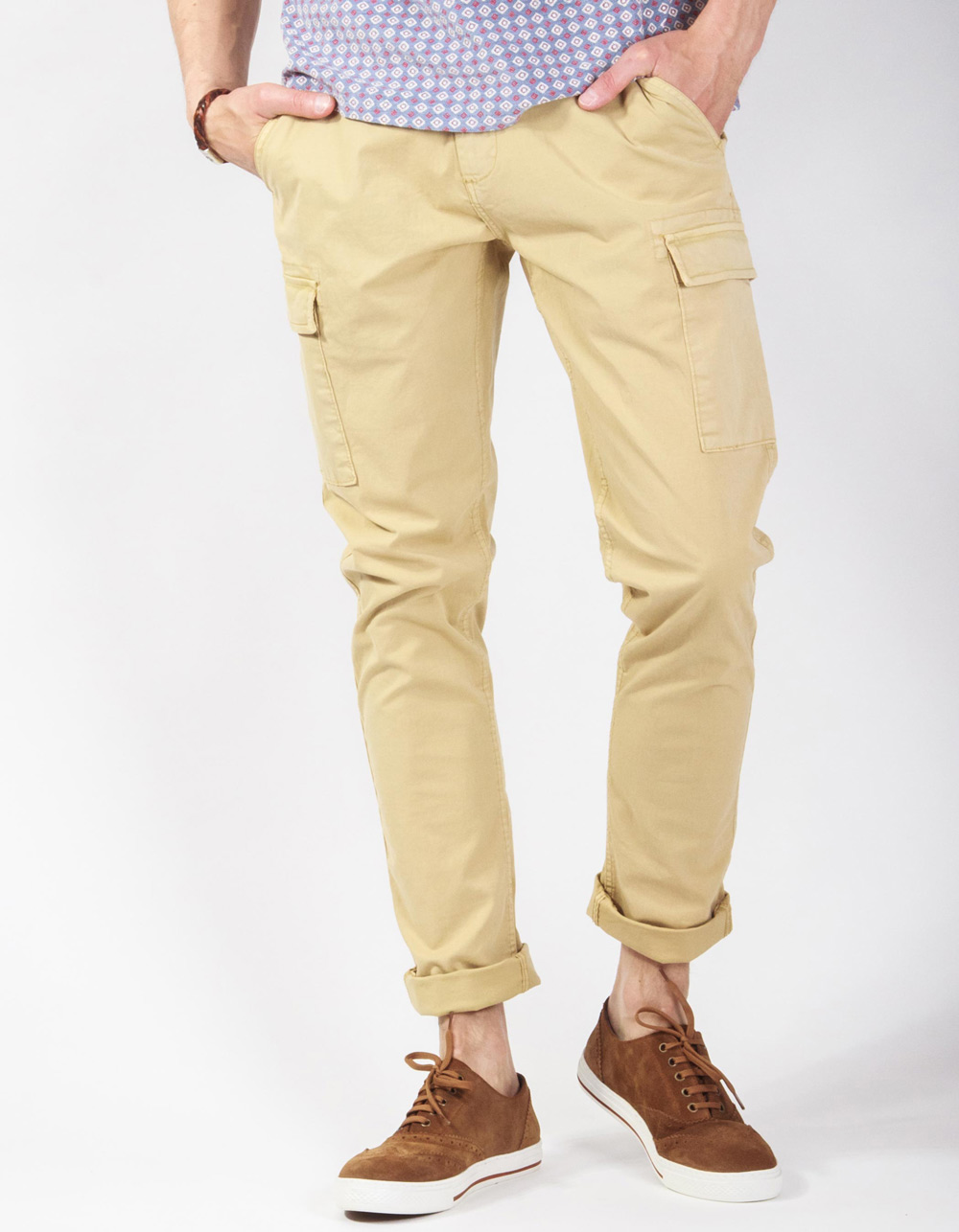 Camel cargo trousers