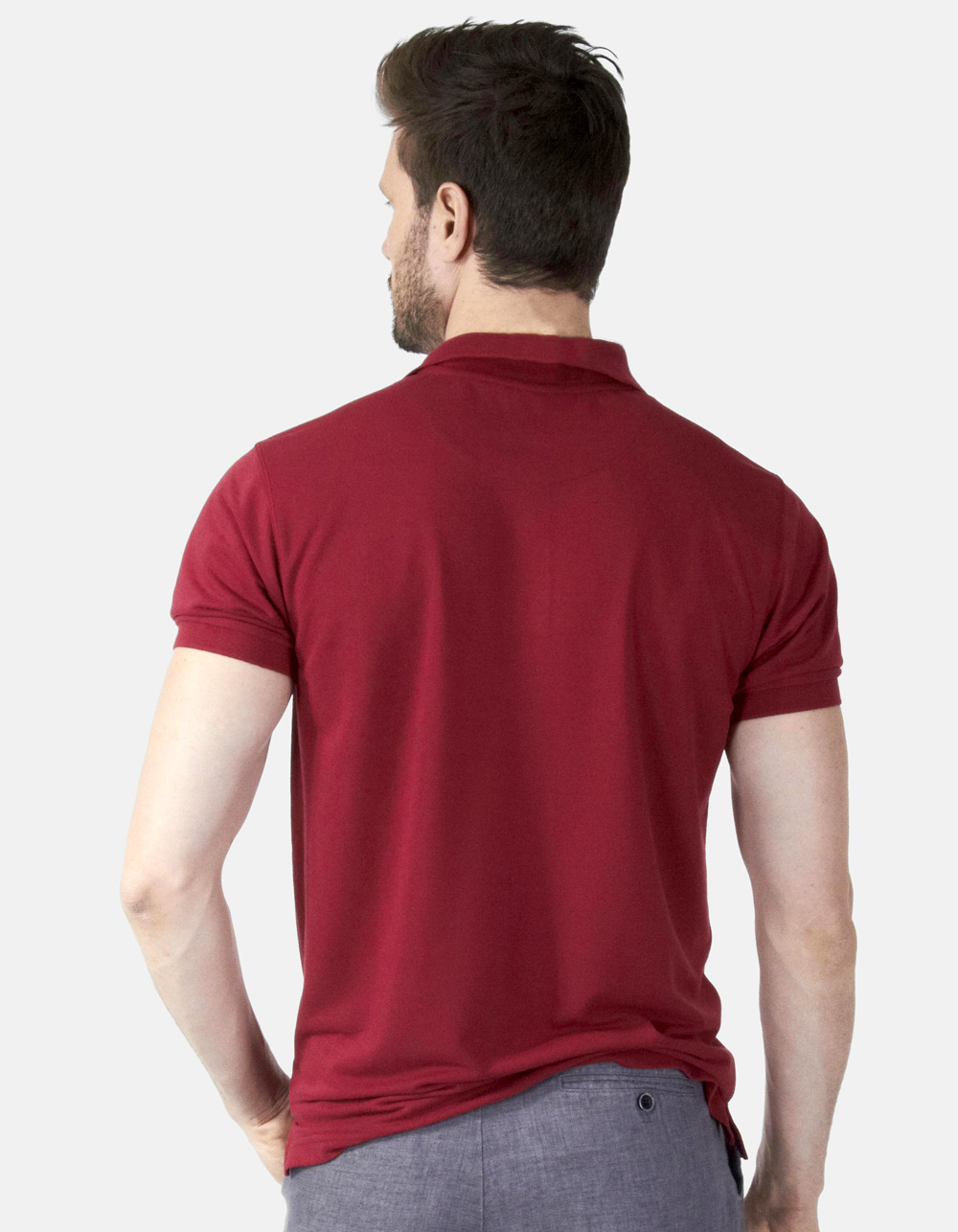 Polo piqué granate - Backside