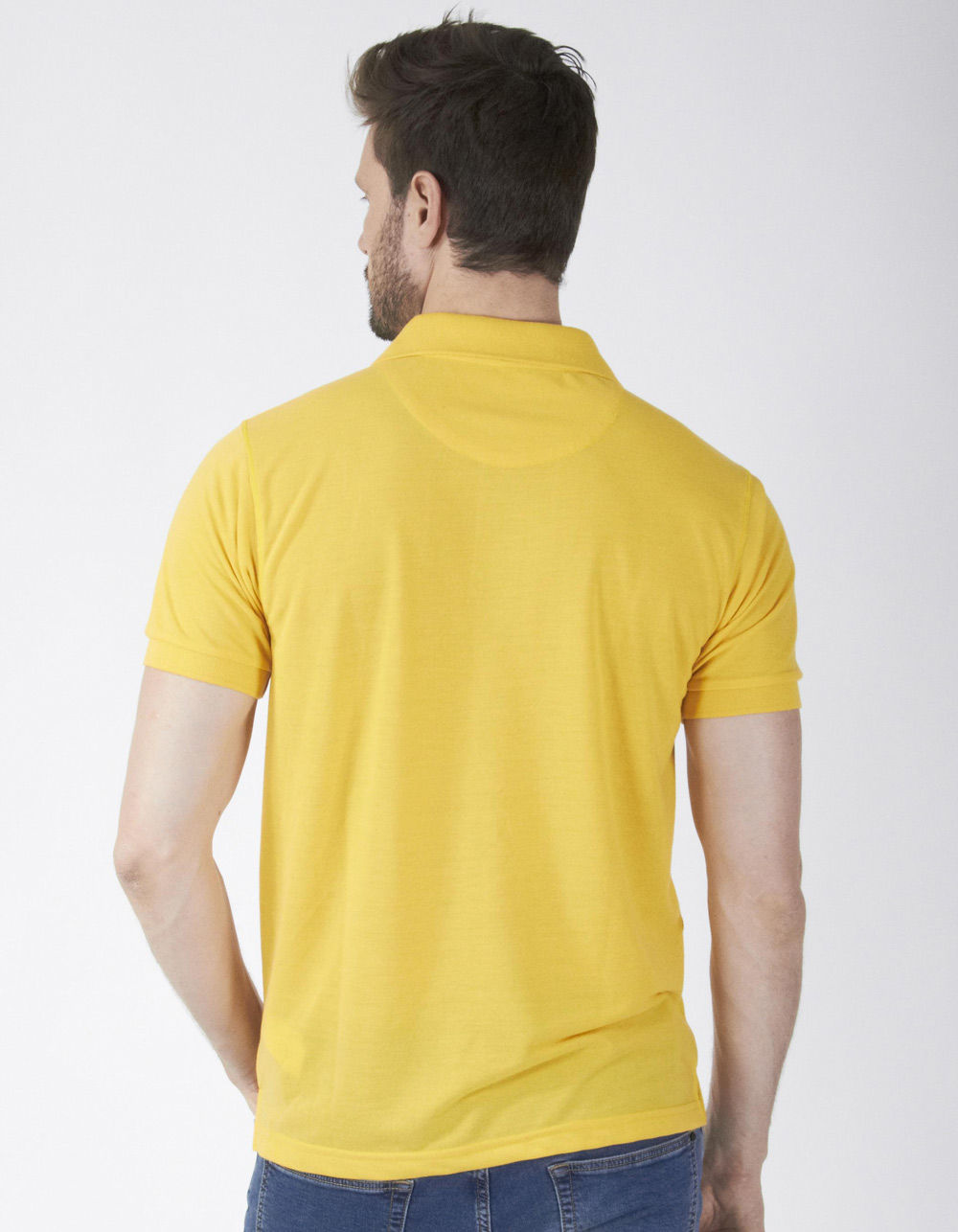 Polo piqué amarillo - Backside