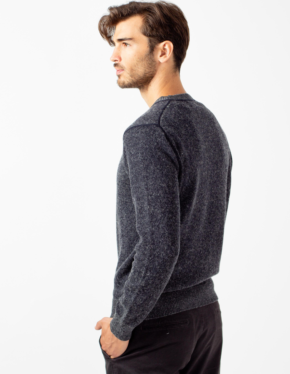 Blue grey round collar jersey - Backside