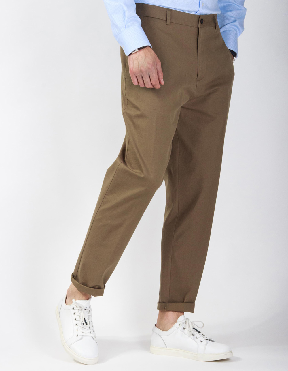 Kaki semi-dress stretch trousers