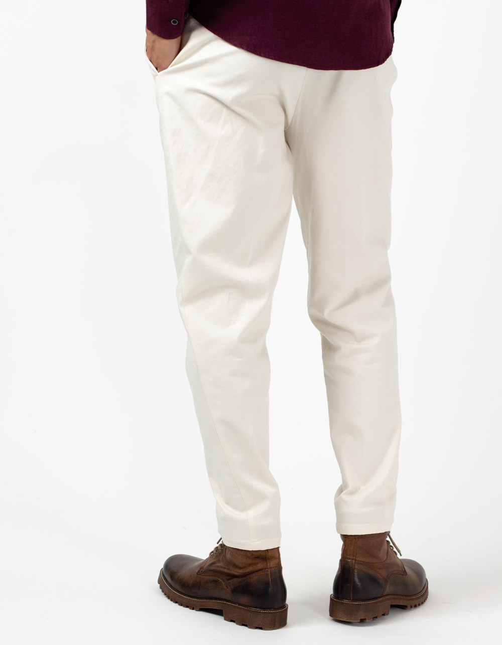 Ivory semi-dress stretch trousers - Backside