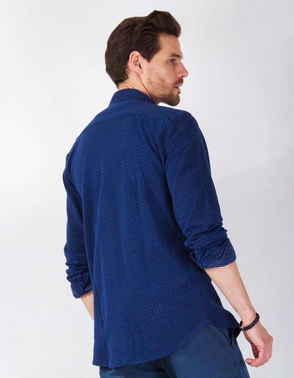 Blue micro-spotted shirt - Backside