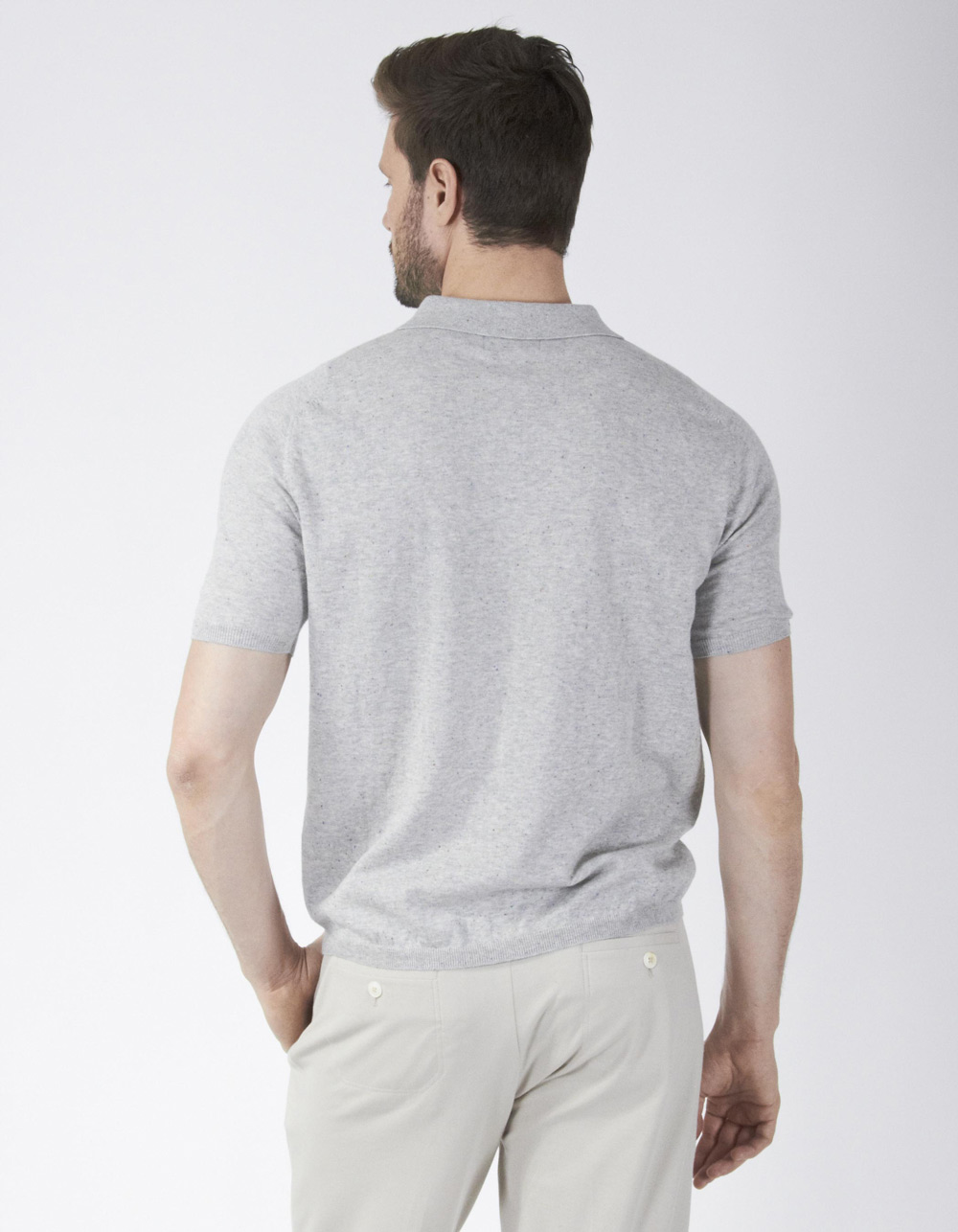 Polo de punto gris con neps - Backside