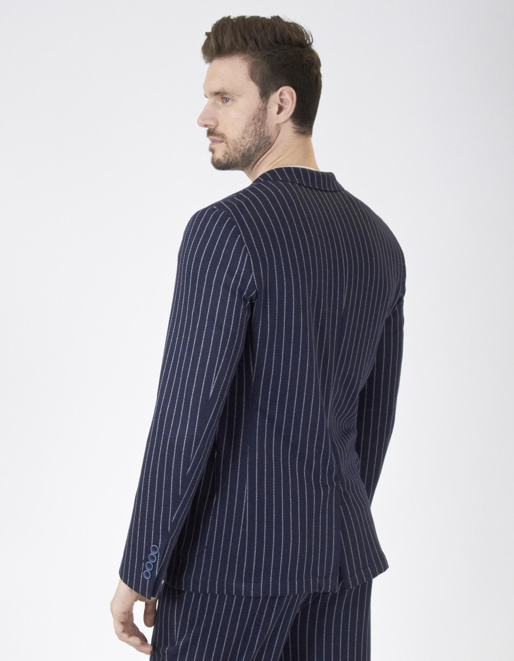 Navy blue striped blazer - Backside