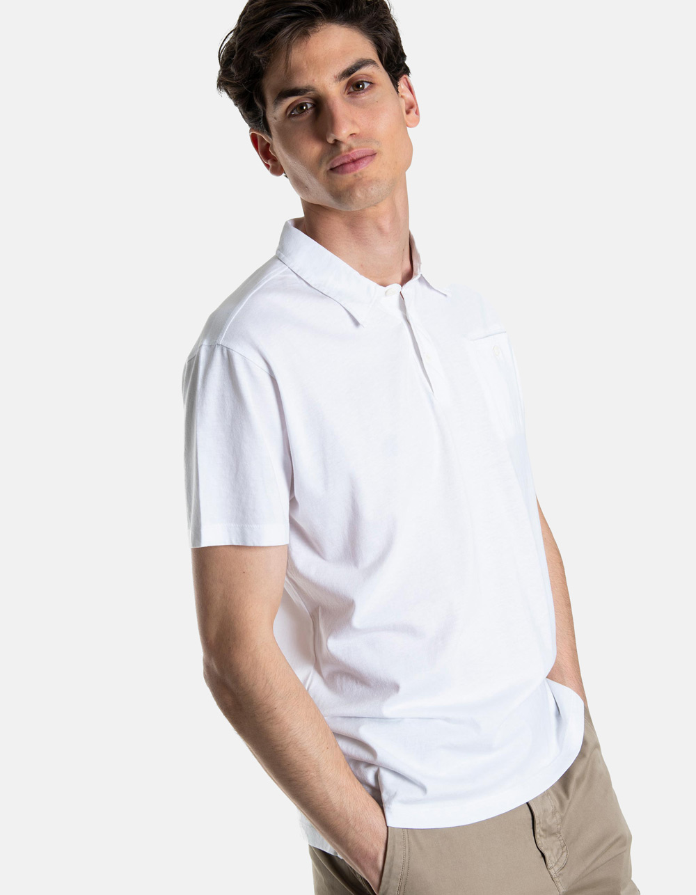 White pocket polo shirt