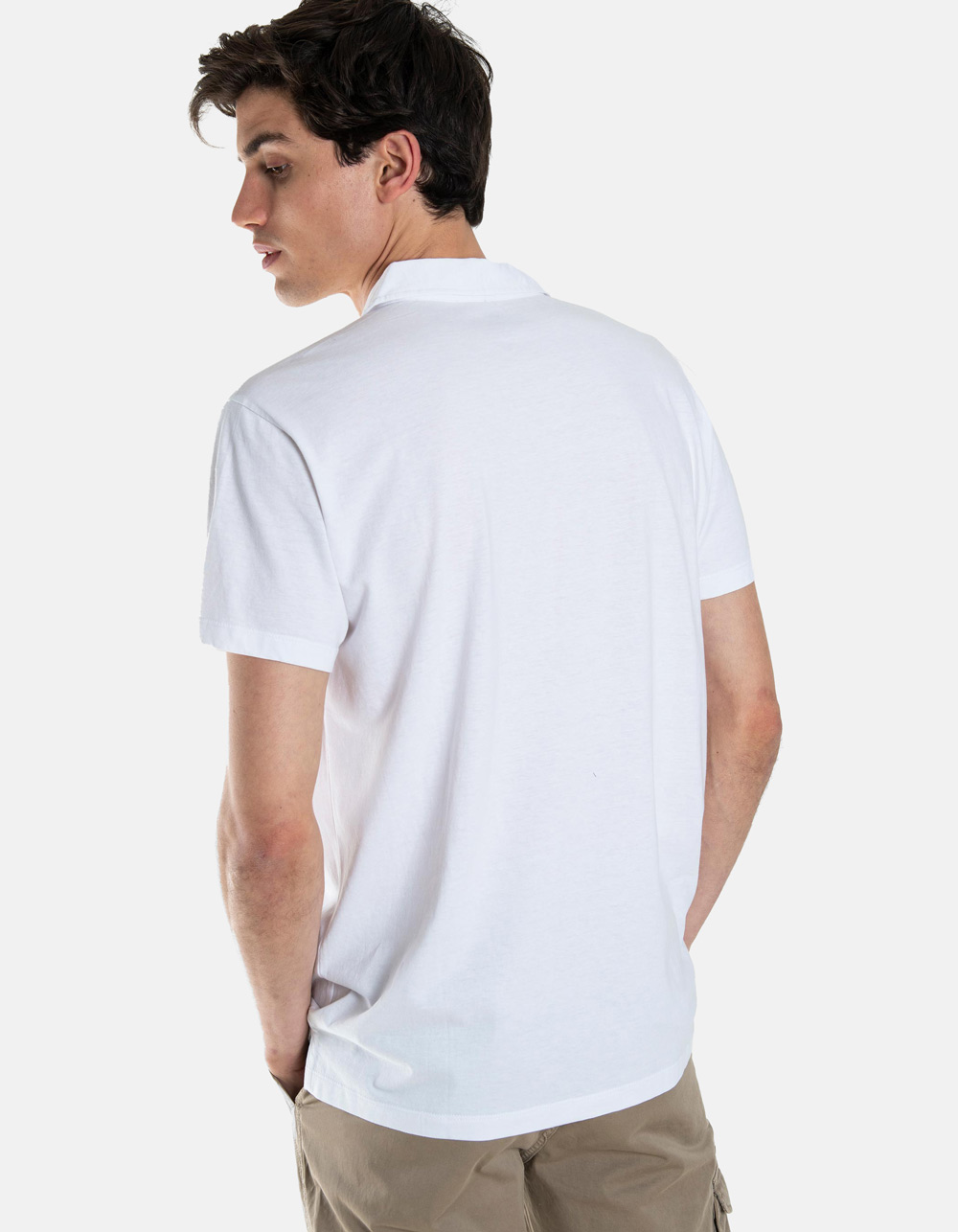 White pocket polo shirt - Backside