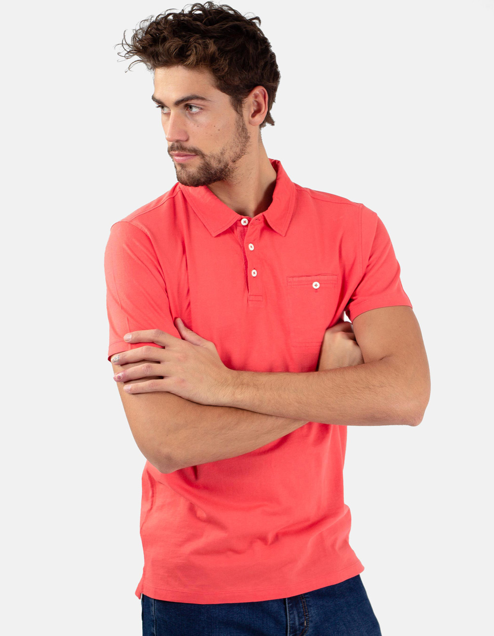 Coral pocket polo shirt