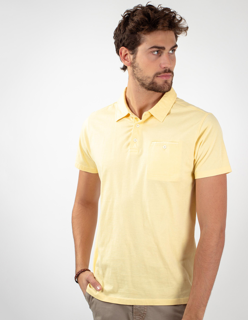 Yellow pocket polo shirt