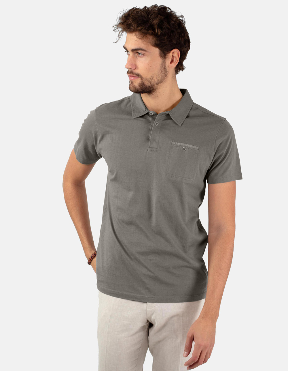 Grey pocket polo shirt