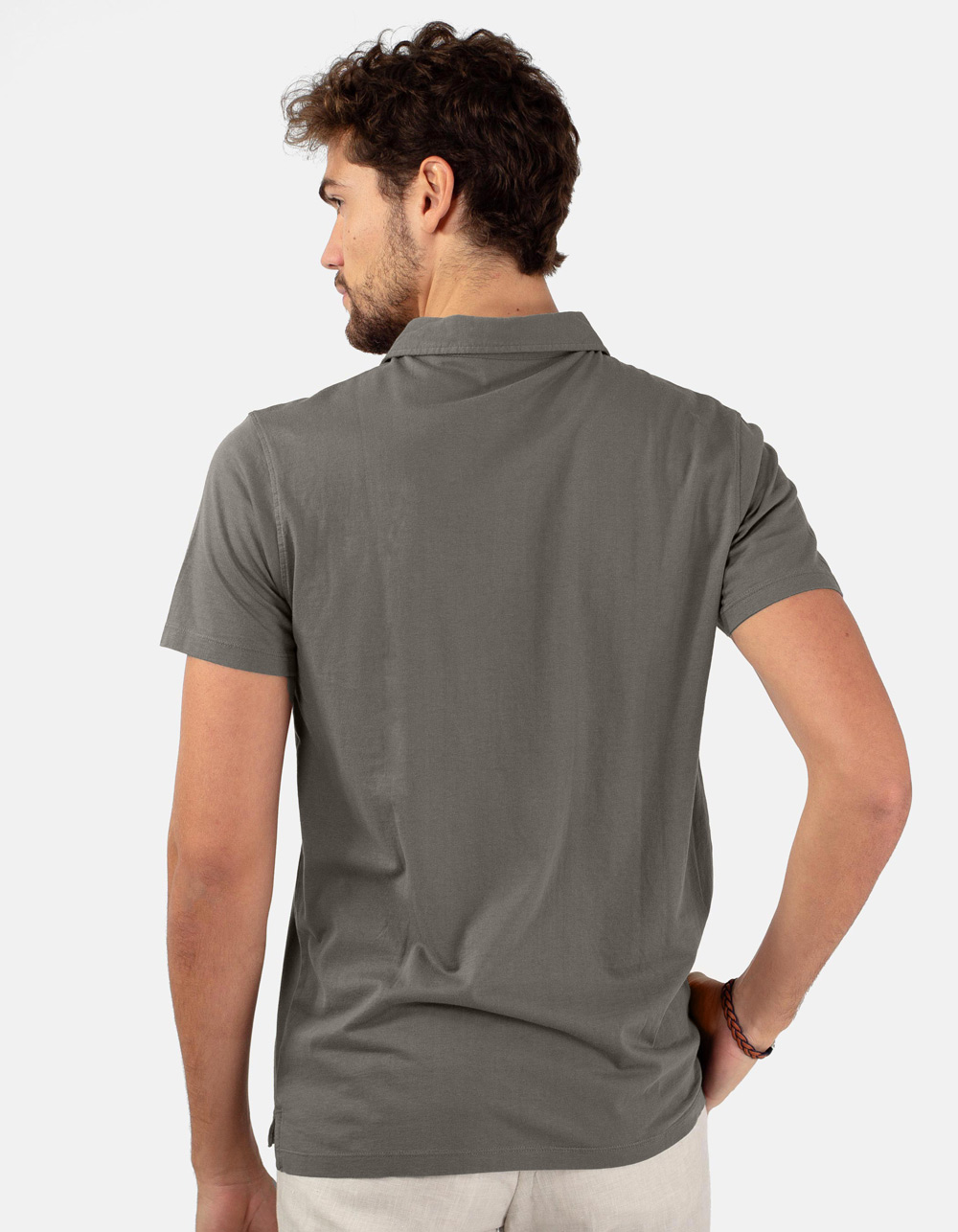 Grey pocket polo shirt - Backside