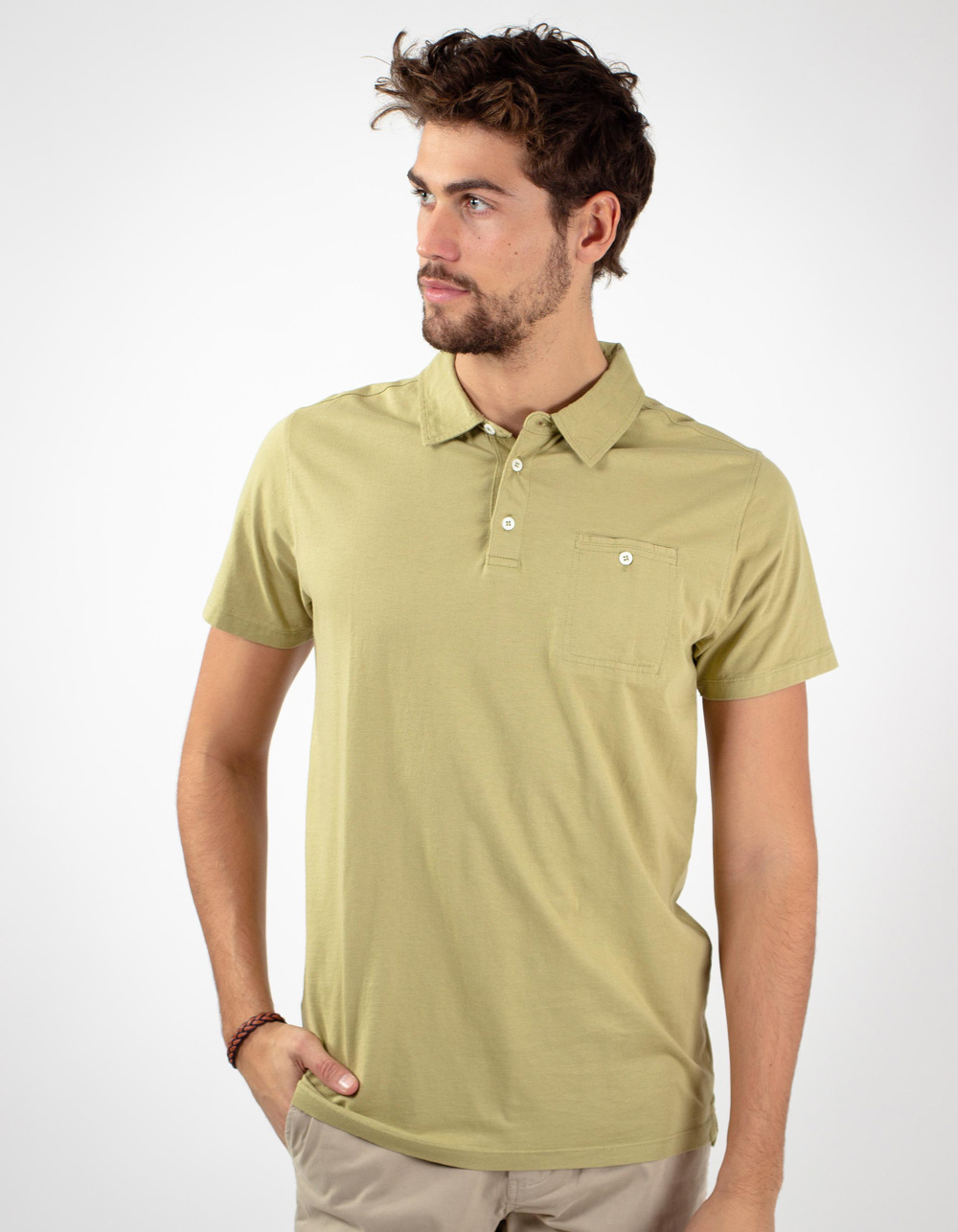 Green pocket polo shirt