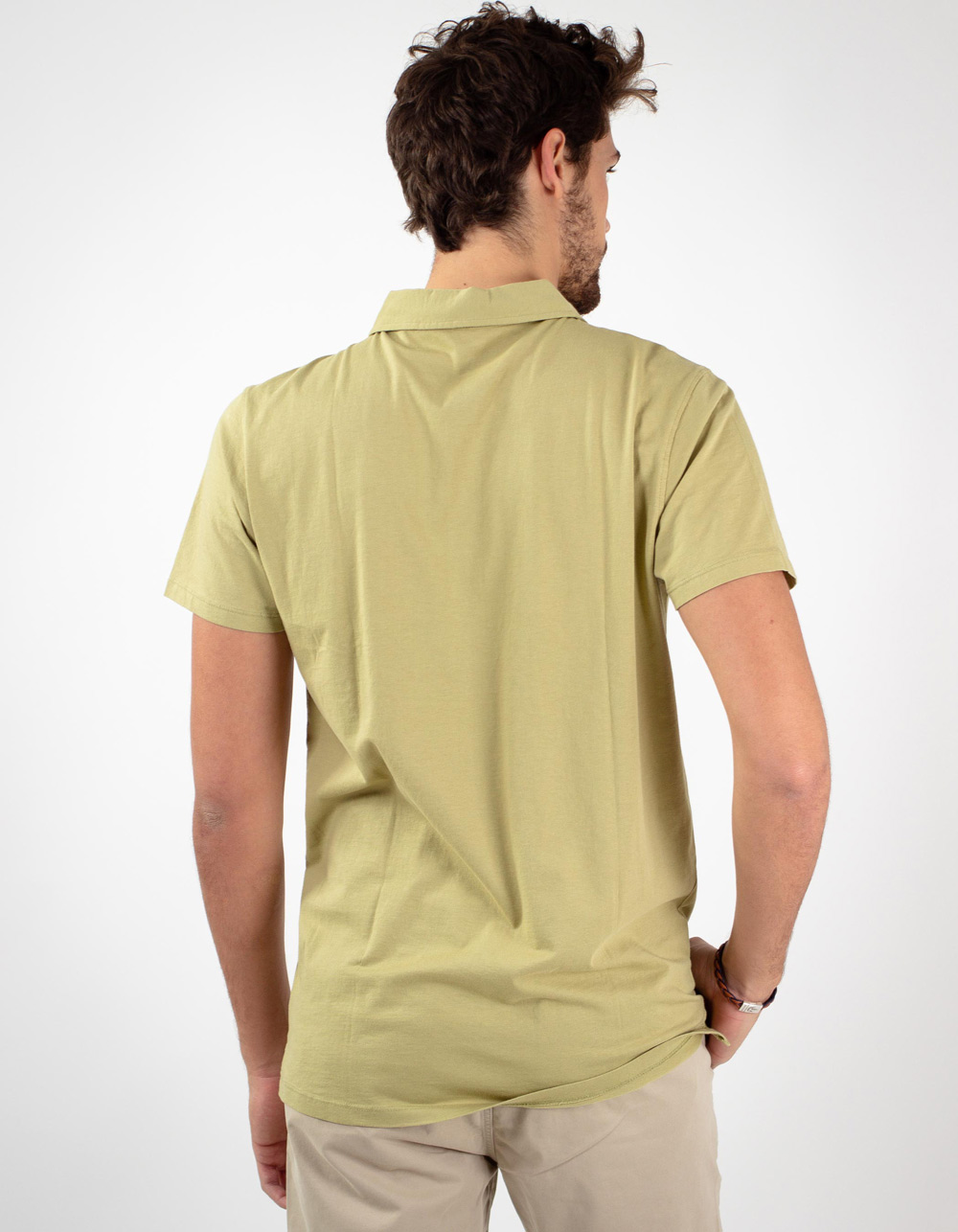 Green pocket polo shirt - Backside