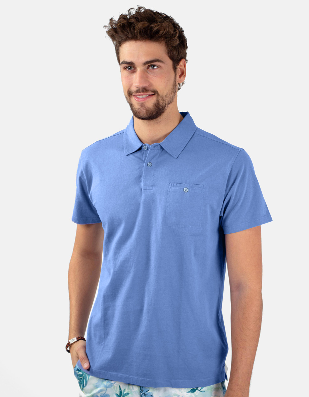 Royal blue pocket polo shirt