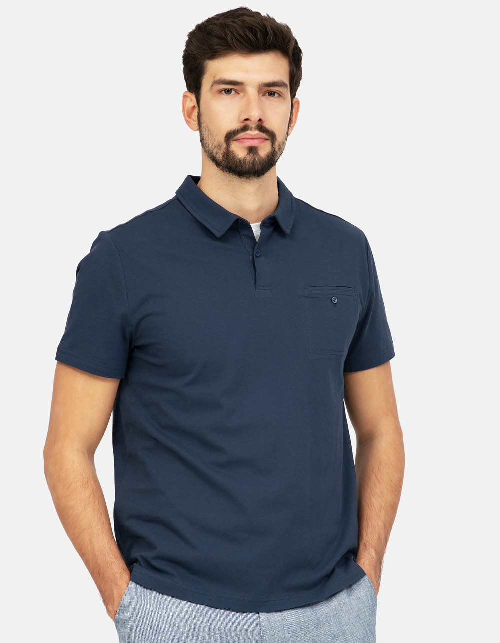 Navy blue pocket polo shirt