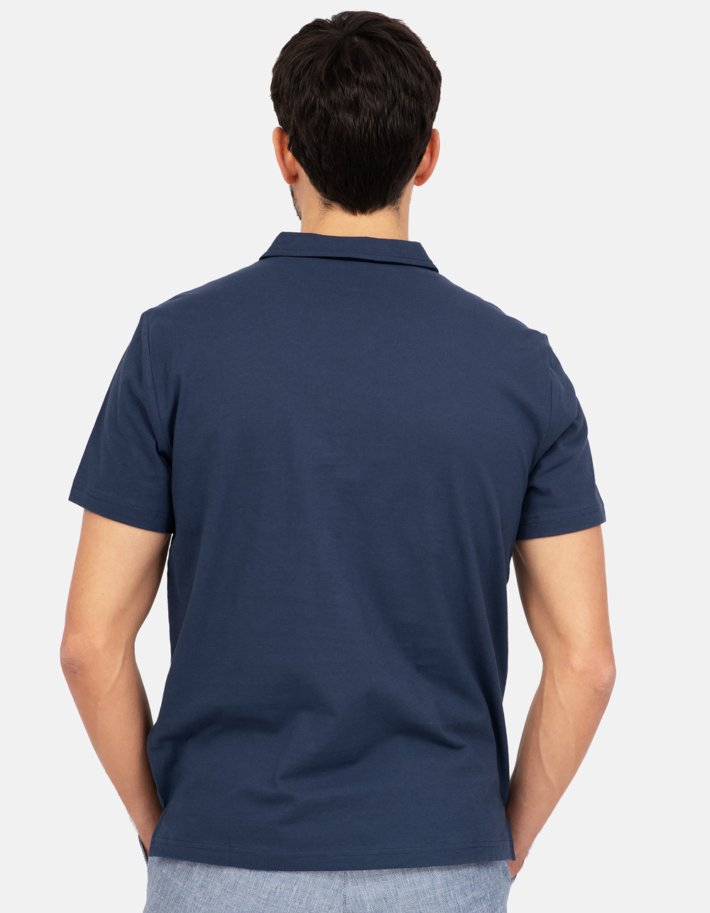 Navy blue pocket polo shirt - Backside